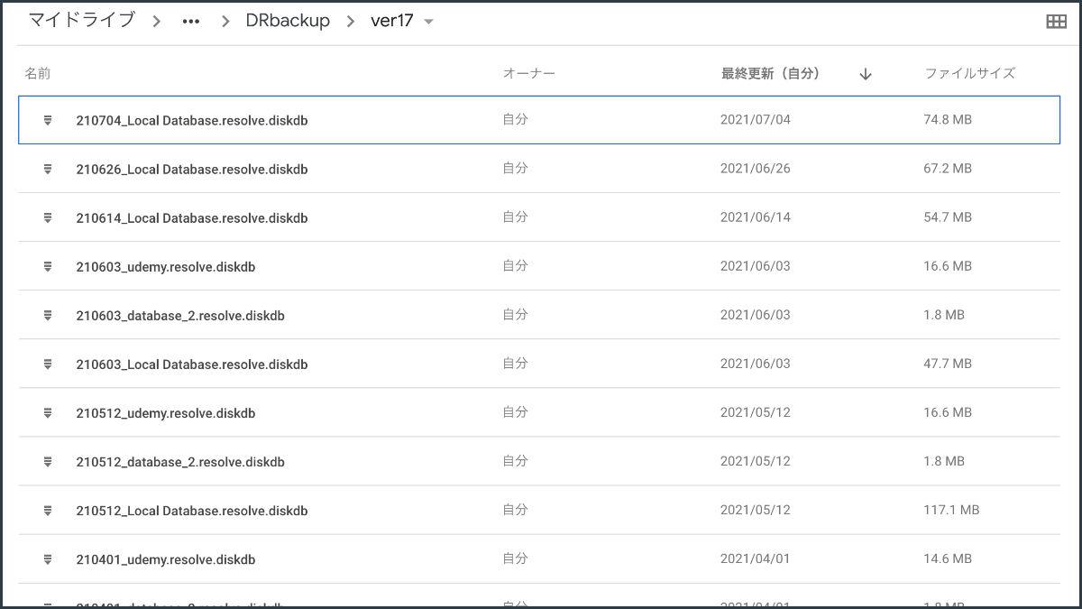 書き出したデータベースのバックアップ。クラウドストレージに全て保存している。