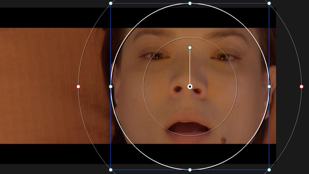 効果の適用範囲を顔のみにするため丸形のウィンドウを追加。