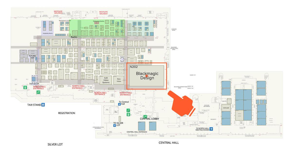 イベント会場マップ。一目見ただけでBlackmagicのベースが如何に巨大なのかということが分かる。